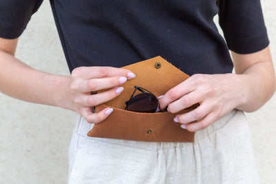 leather sunglasses case, leather pouch, leather envelope pouch, small gift, accessories, brown leather case, pencils case, handmade leather, ||Brown||