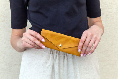 leather sunglasses case, leather pouch, leather envelope pouch, small gift, accessories, yellow leather case, pencils case, handmade leather, ||Mustard||