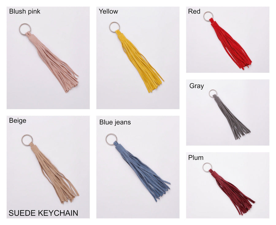 Suede tassel keychain leather accessories Mayko Bags Blush pink