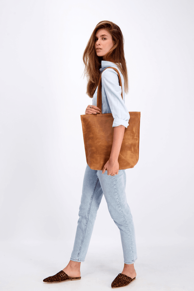 brown Leather tote, tote bag, woman leather bag, shoulder bag, gift for her, laptop bag, mayko ||Brown||