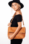 Leather Tote | Leather Bag | Personalized Leather Bag | Convertible Bag | Leather Computer Bag Women | Leather Tote Bag | Foldover Clutch ||Camel||