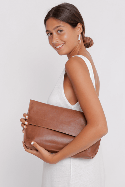 Leather Tote | Leather Bag | Personalized Leather Bag | Convertible Bag | Leather Computer Bag Women | Leather Tote Bag | Foldover Clutch ||Cinnamon||