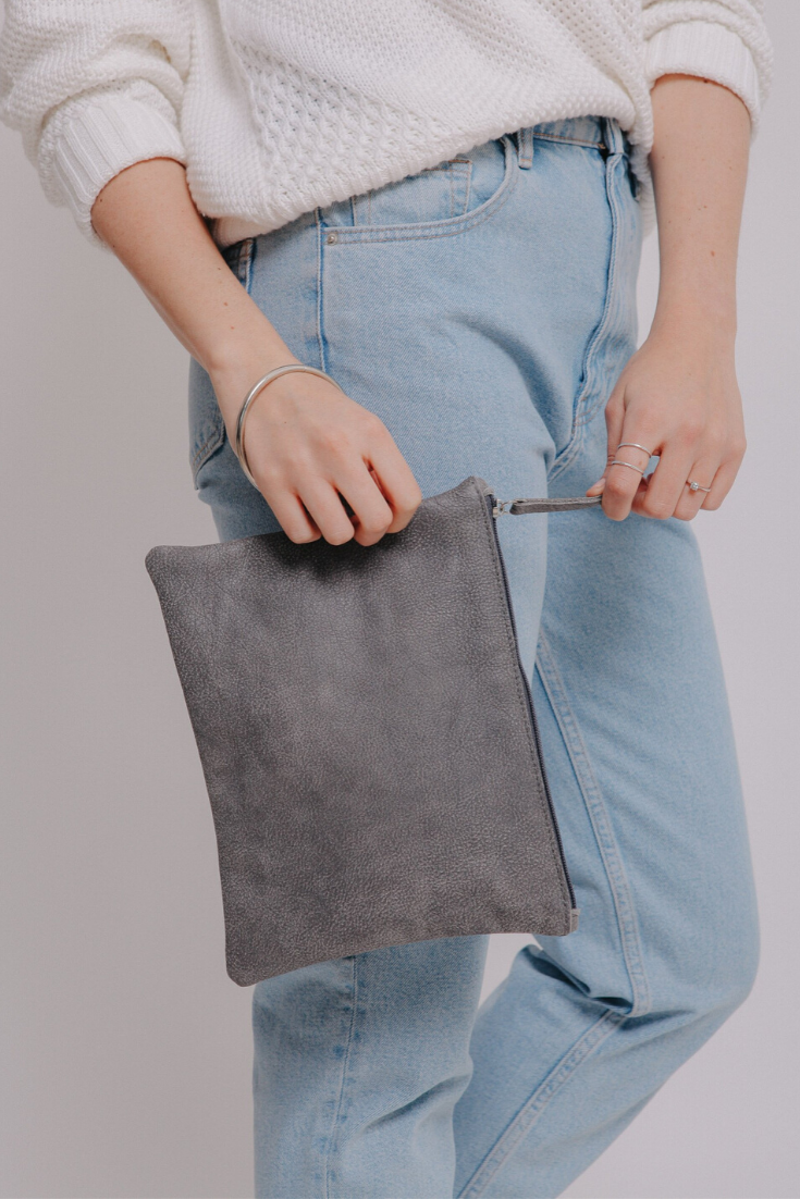 suede bag, leather clutch bag, gray leather bag, small leather bag, wristlet purse, evening bag, mayko bags  ||GraySuede||