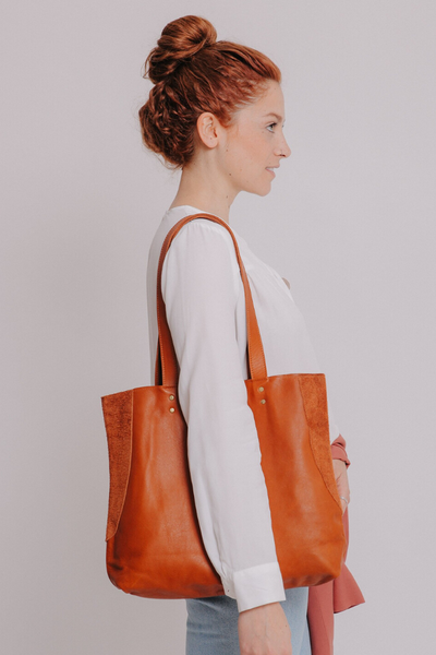 Caramel Leather Tote , Women Leather Bag, Soft Leather Bag, Caramel Leather Bag, Tote Bag, Women Bag, Handmade Leather Bag ||CaramelBrownTote||