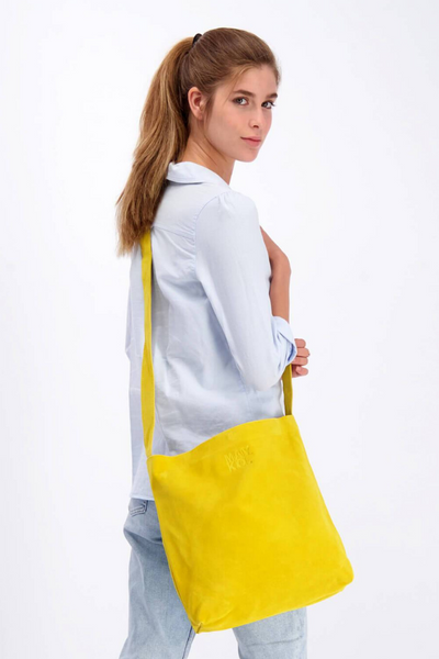 Yellow Bag, Leather Bag, Suede Leather Bag, Everyday Carry Leather Bag, Handmade Soft Leather Bag, Women Bag Tote, Long Tote Bag, ||YellowMustard||