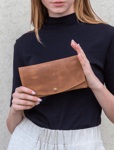 Leather Wallet, Women Purse Wallet, Small Purse Wallet, Leather Gift Women, Change Purse, Clutch Wallet, Slim Wallet, Envelope Purse, Bifold  ||Brown||