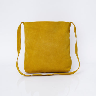 Leather Bag, Suede Leather Bag, Everyday Carry Leather Bag, Handmade Soft Leather Bag, Women Bag Tote, Long Tote Bag, ||Yellow||