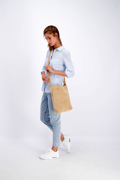 Beige Crossbody Bag, Beige Bag, Crossbody Bag For Women, Suede Bag with Magnetic/Zipper Closer, Lightweight Leather Bag, Leather Gifts, gift for her, ||Beige||