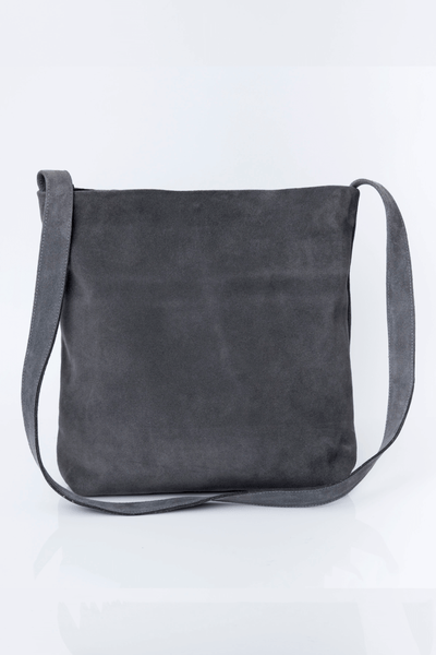 Suede Bag, Woman Leather Bag, Soft Leather Tote, Crossbody Bag, Lightweight Leather Bag, Handmade Bag, ||Gray||