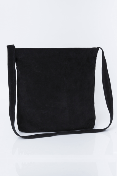 Leather Bag, Suede Leather Bag, Everyday Carry Leather Bag, Handmade Soft Leather Bag, Women Bag Tote, Long Tote Bag, ||Black||