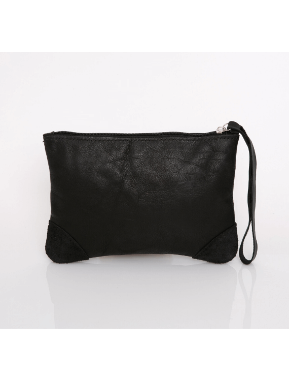 Makeup Bag, Toiletry Bag, Travel Bag, Evening Bag, Leather Bag, Leather Pouch, Leather Wristlet Pouch, Leather Wristlet Pouch, ||Black||