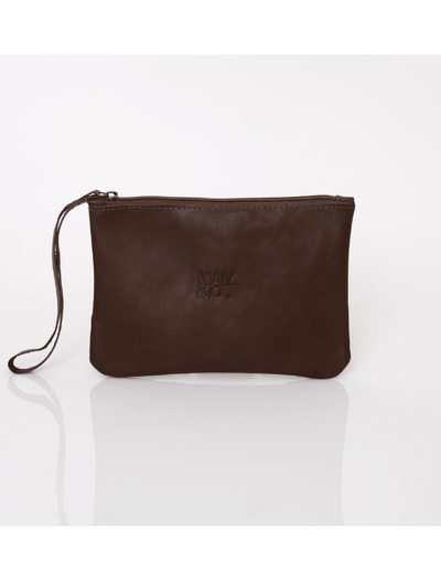 Makeup Bag, Toiletry Bag, Travel Bag, Evening Bag, Leather Bag, Leather Pouch, Leather Wristlet Pouch, Leather Wristlet Pouch, ||Brown||