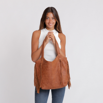 Tote Bag, Bags and Handbags, Big Leather Tote, Big Bag, Big Tote Bag , Big Handbag, Fringe Bag, Fringe Tote, Woman Purse, Woman's Handbag, Woman's Bag, Travel Bag, Work Bag, Student Bag, Everyday Bag, Caramel leather bag, ||Caramel||