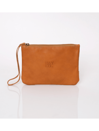 Makeup Bag, Toiletry Bag, Travel Bag, Evening Bag, Leather Bag, Leather Pouch, Leather Wristlet Pouch, Leather Wristlet Pouch, ||Camel||