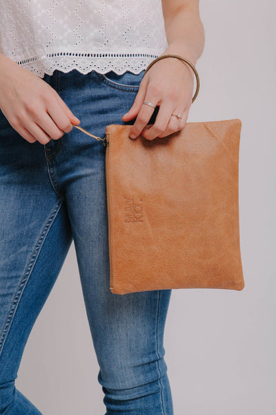 camel leather clutch - Soft Leather wristlet clutch - Women handbag - Gift Ideas - Leather Purse, Leather Pouch with Metal Ring Bracelet ||Camel||