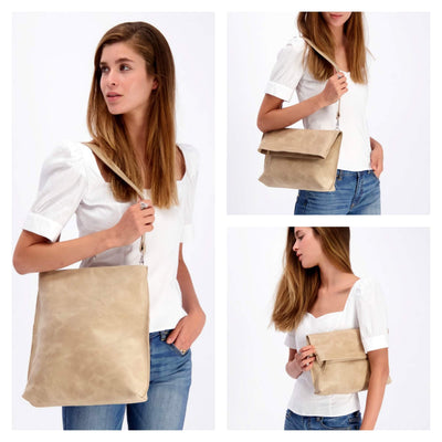 convertible bag, leather tote, tote bag, woman leather bag, crossbody purse, laptop bag, handbag, fold over bag, crossbody tote, tote bag with zipper, laptop tote, leather crossbody, cross body, Stone Leather Bag, ||Stone||