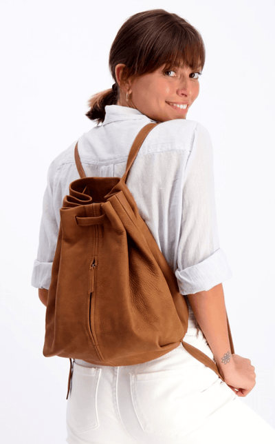 drawstring backpack, leather backpack, woman backpack, handmade bag