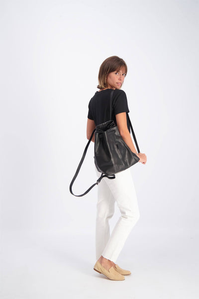 Women Leather Backpack, BROWN Leather Backpack, Laptop Backpack,  for Women, DRAWSTRING LEATHER  Backpack,Large Leather Backpack ||Black||