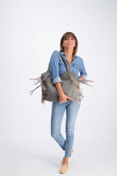 Tote Bag, Bags and Handbags, Big Leather Tote, Big Bag, Big Tote Bag , Big Handbag, Fringe Bag, Fringe Tote, Woman Purse, Woman's Handbag, Woman's Bag, Travel Bag, Work Bag, Student Bag, Everyday Bag, Gray leather bag, ||Gray||
