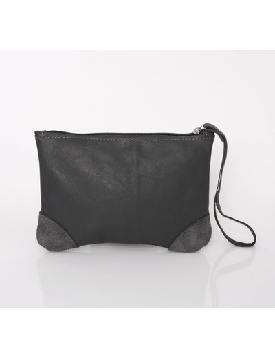 Makeup Bag, Toiletry Bag, Travel Bag, Evening Bag, Leather Bag, Leather Pouch, Leather Wristlet Pouch, Leather Wristlet Pouch, ||Gray||