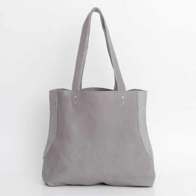 Gray Leather Tote , Women Leather Bag, Soft Leather Bag, Grey Leather Bag, Tote Bag, Women Bag, Handmade Leather Bag ||GrayTote||