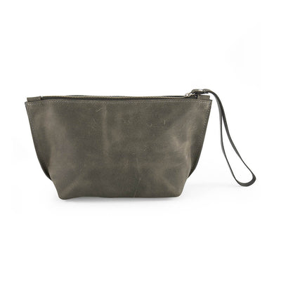 GRAY leather wrislet clutch bag, personlaized leather pouch, makeup bag, leather makeup bag, classic makeup bag, bags and handbags, anniversary gift for her