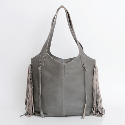Tote Bag, Bags and Handbags, Big Leather Tote, Big Bag, Big Tote Bag , Big Handbag, Fringe Bag, Fringe Tote, Woman Purse, Woman's Handbag, Woman's Bag, Travel Bag, Work Bag, Student Bag, Everyday Bag, Leather Tote, ||Gray||