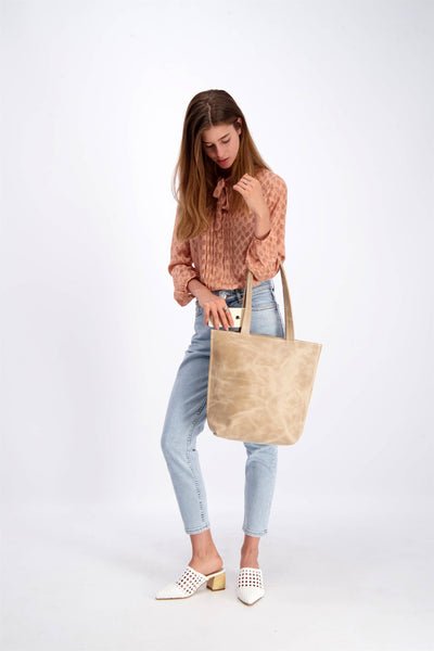 leather tote bag, woman leather bag, shoulder bag, beige leather bag, leather purse, laptop bag ||Beige||