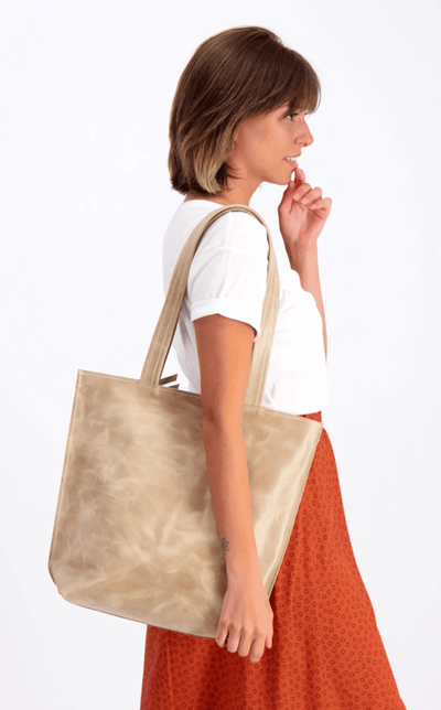 leather tote, tote bag, handbag, leather bag, shoulder bag, leather tote bag, tote bag with zipper, handmade bag, woman leather bag ||Beige||
