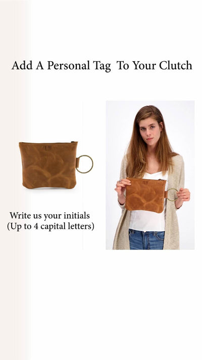 personalized Leather Clutch, Leather Wristlet, Leather Clutch with Bracelet Handle, Soft Leather, Clutch Purse, Evening Bag, Wristlet Leather Bag ||Brown||