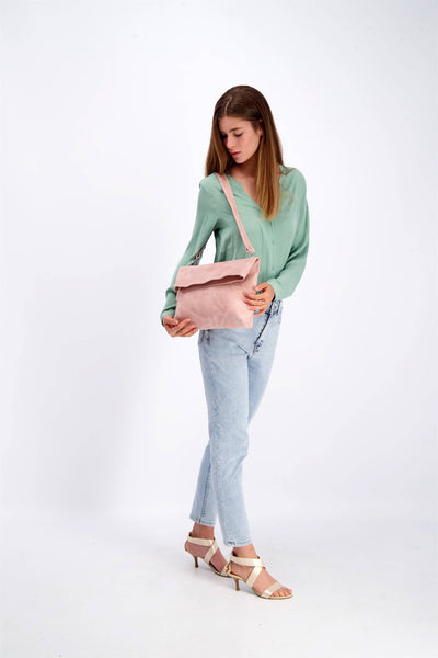 Leather Tote Bag, Convertible Bag, Leather Bag, Leather Zipper Tote Bag, Foldover Crossbody Bag, Woman Leather Purse, Leather Purse, Leather Pouch, woman's Bag, Woman's Purse, Handmade Bag, Leather Purse, Leather Tote, Multi-Purpose Bag, Casual Bag, Pink Leather Bag ||Pink||