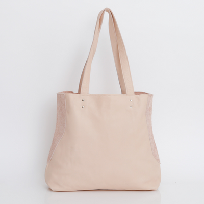 Nude Leather Tote , Women Leather Bag, Soft Leather Bag, Nude Leather Bag, Tote Bag, Women Bag, Handmade Leather Bag, Handbag ||Nude||