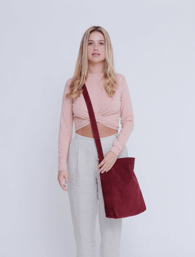 Leather Bag, Suede Leather Bag, Everyday Carry Leather Bag, Handmade Soft Leather Bag, Women Bag Tote, Long Tote Bag, ||Plum||