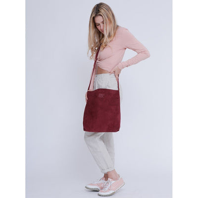 Leather Bag, Suede Leather Bag, Everyday Carry Leather Bag, Handmade Soft Leather Bag, Women Bag Tote, Long Tote Bag, Handmade, Handmade Bag. Handmade Leather Bags, Handcrafted, ||Plum||