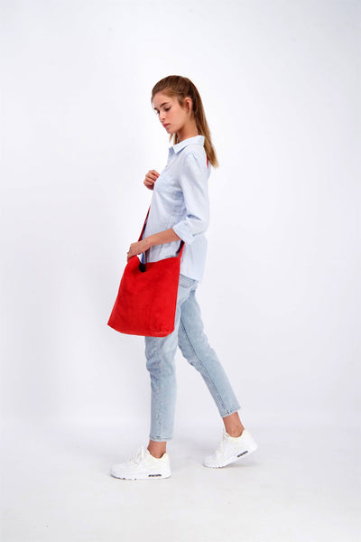 Red Bag, Red Crossbody Bag, Crossbody Bag For Women, Suede Bag with Magnetic/Zipper Closer, Lightweight Leather Bag, Leather Gifts, gift for her
