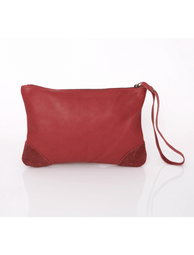 Makeup Bag, Toiletry Bag, Travel Bag, Evening Bag, Leather Bag, Leather Pouch, Leather Wristlet Pouch, Leather Wristlet Pouch, ||Red||
