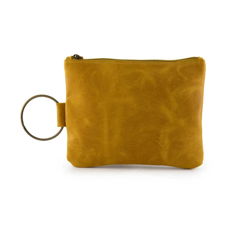 yellow Leather Clutch, Leather Wristlet, Leather Clutch with Bracelet Handle, Soft Leather, Clutch Purse, Evening Bag, Wristlet Leather Bag
