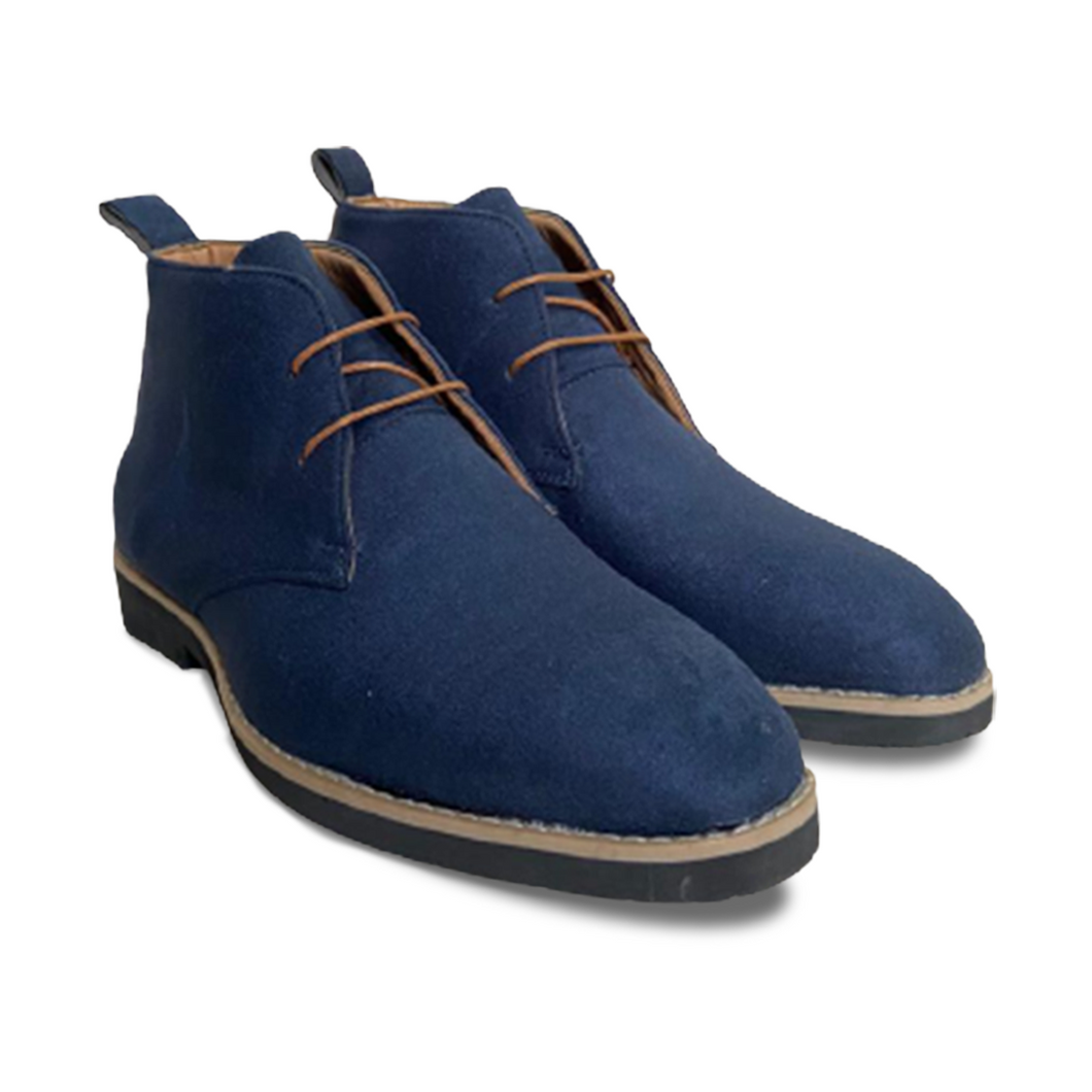 Blue Suede Low Ankle Chukka Boots