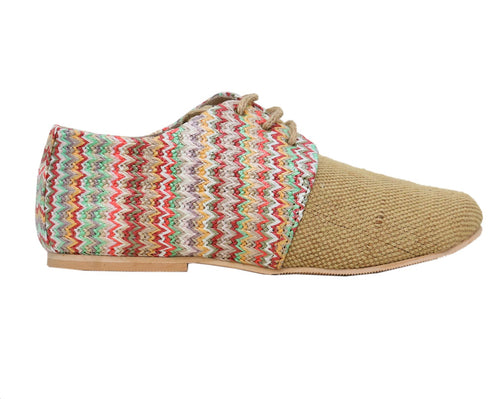 Beige Multicolored Matt Lace-Ups