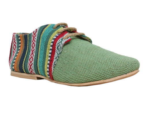 Green Tone Rainbow Lace-Ups