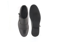 Faux Leather Double Strap Black Men Monks