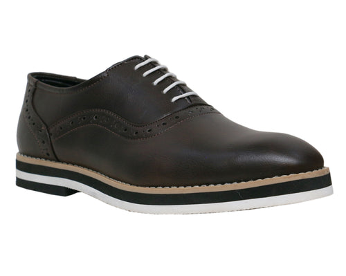 Dark Brown Men's Brogues Faux Leather Formal Shoes