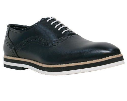 Black and White Semi Brogue Oxfords.