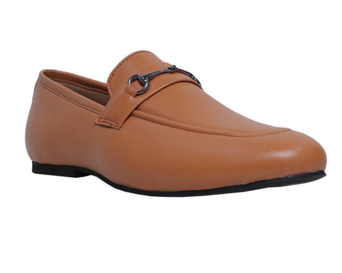 Tan Buckle Loafers Shoes