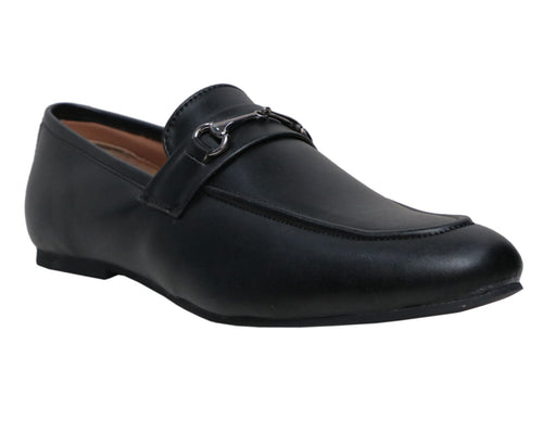 Black buckled penny loafers