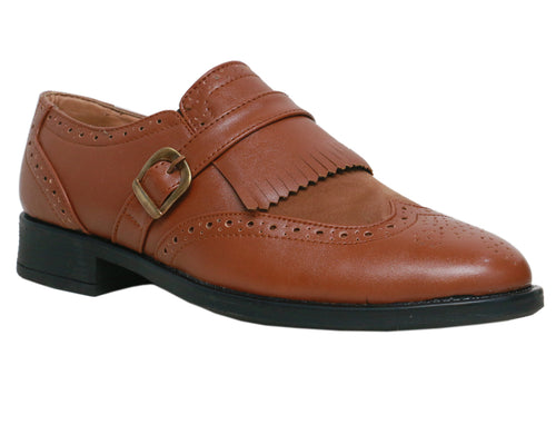 Tan Single Strap Brogue Monks