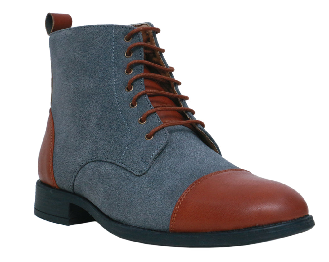 Grey High Ankle Military Boots