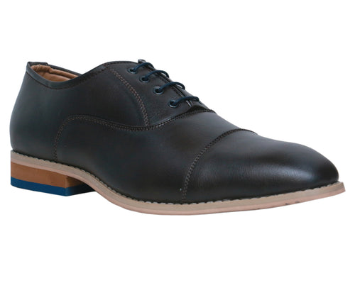 Charcoal Faux Leather Oxfords