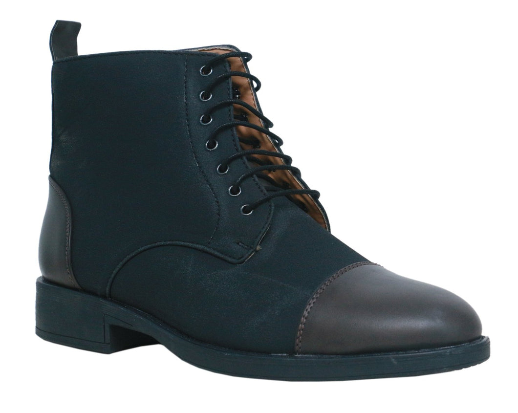 Black & Grey High Ankle Military Boots