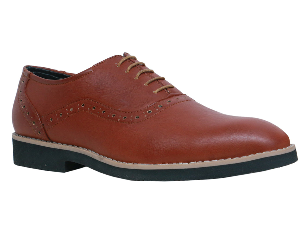 Light Brown Men's Brogues Faux Leather Formal Shoes